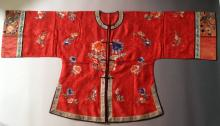 Antique Chinese Silk Coat, Red