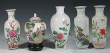Five Chinese Famille Rose Porcelain Vases, Republic