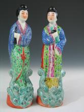 Two Chinese Famille Rose Porcelain Figures, 20th Century