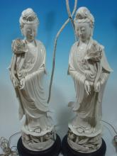 FINE Chinese Pair Dehua Ghuanyin as lamps, 1st half of 20th Century. 25