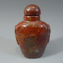 ANTIQUE CHINESE CARVED RED AGATE SNUFF BOTTLE - 19TH