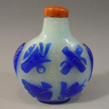 ANTIQUE CHINESE BLUE PEKING GLASS SNUFF BOTTLE 19TH CENTURY