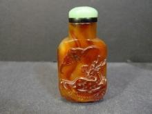 ANTIQUE CHINESE RED AGATE CARVED SNUFF BOTTLE
