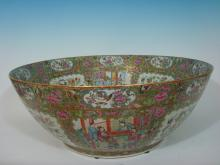 ANTIQUE Large Chinese Rose Medallion Punch Bowl, 23