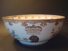 ANTIQUE Chinese Very Rare Armorial Punch Bowl, 18th