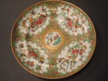 ANTIQUE Chinese Rose Medallion Soup Bowl, early 19th C.