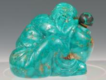 Chinese Carved Turquoise Snuff Bottle, Qing Dynasty.