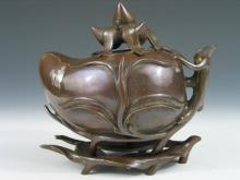 Chinese Bronze Peach-shaped Incense Burner. Xuan-de
