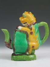 Chinese Sancai Foo Dog Porcelain Teapot.