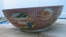 Huge Chinese Famille Rose Porcelain Punch Bowl