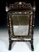 Antique Chinese Mother-of-Pearl Inlaid Rose Wood Mirror