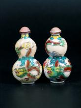 Two Chinese Enameled Double Gourd Snuff Bottles