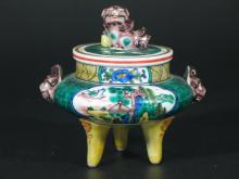 Chinese Famille Verte Porcelain Incense Burner.