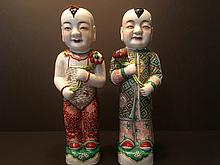 ANTIQUE Pair Chinese Famille Rose Figurines, marked by Mao Ji Sheng, late 19th Century