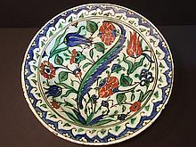 ANTIQUE Iznik Charger Plate with flowers and excellent enemels, 15th Century