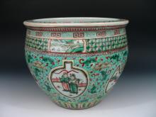 Chinese Famille Verte Porcelain Jardiniere 19th Century