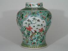 Antique Chinese Famille Verte Porcelain Baluster Jar.