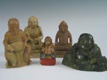 Group of Five Asian Carved Stone Sttues.