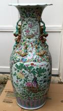Huge Chinese Famille Rose Porcelain Floor Vase, 19th Century.