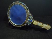 ANTIQUE CHINESE HETIAN WHITE JADE HANDLE ENAMEL MIRROR REPUBLIC PERIOD