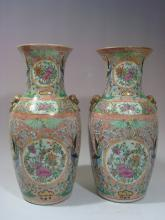 ANTIQUE Pair Chinese Famille Rose Medallioin Vases, 18