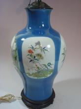 ANTIQUE Chinese Famille Rose Large Vase Lamp, 18th/19th C