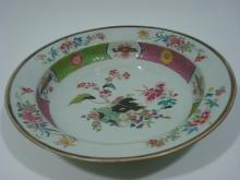 ANTIQUE Chinese Famille Rose Basin Chager with Blossoms, 14 1/2