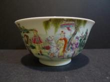 ANTIQUE CHINESE FAMILLE ROSE PORCELAIN BOWL - 19TH CENTURY QIANLONG MARK