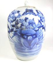 19th CENTURY CHINESE BLUE AND WHITE PORCELAIN GINGER