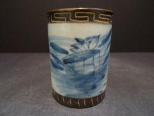ANTIQUE CHINESE BLUE WHITE PORCELAIN CUP 19TH CENTURY