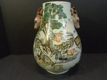 ANTIQUE CHINESE FAMILLE ROSE DEER PORCELAIN VASE - REPUBLIC PERIOD