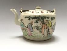 CHINESE ANTIQUE FAMILLE ROSE PORCELAIN TEAPOT, MARKED,19C