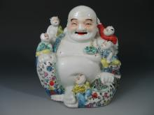 Chinese Famille Rose Porcelain Statue of Buddha,