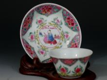 Antique Chinese Famille Rose Porcelain Cup and Saucer,