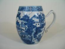 Antique Chinese Nanking Blue and White Porcelain Mug,