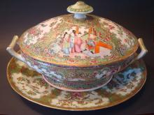 ANTIQUE Chinese Rose Medallion Tureen and Tray Platter,
