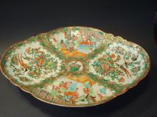 ANTIQUE Chinese Rose Medallion Duck Dish Platter, 19th