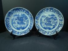 PAIR CHINESE ANTIQUE BLUE WHITE PORCELAIN PLATE.  19TH CENTURY