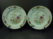 PAIR ANTIQUE CHINESE FAMILLE ROSE PORCELAIN PLATE 18TH CENTURY