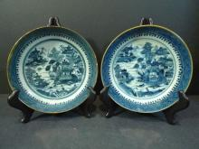 PAIR ANTIQUE CHINESE BLUE WHITE PORCELAIN PLATE 18TH CENTURY