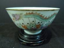 RARE ANTIQUE CHINESE FAMILLE ROSE PORCELAIN BOWL LATE QING PRIVATE MARK