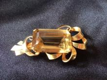 BEAUTIFUL VINTAGE 14K GOLD AND CITRINE RETRO BROOCH