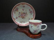 ANTIQUE CHINESE FAMILLE ROSE PORCELAIN CUP SAUCER 18TH CENTURY