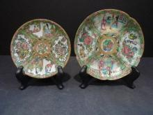 2 ANTIQUE CHINESE ROSE MEDALLION PLATES 19TH CENTURY