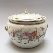 CHINESE ANTIQUE FAMILL ROSE PORCELAIN COVERED BOWL ,19C