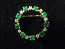 14K SOLID GOLD DIAMOND & EMERALD CIRCLE PIN