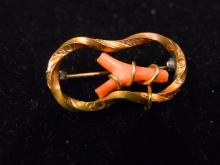 ANTIQUE 10K GOLD VICTORIAN RED CORAL PIN
