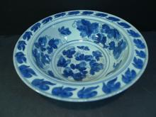 RARE ANTIQUE CHINESE BLUE WHITE PORCELAIN BOWL - 18TH CENTURY