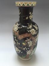 ANTIQUE CHINESE BLACK GLAZED SANCAI PORCELAIN VASE 19TH C