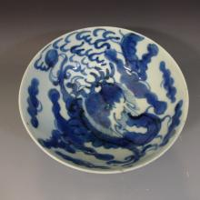 ANTIQUE CHINESE BLUE WHITE DRAGON BOWL 18TH C UNUSUAL MARK